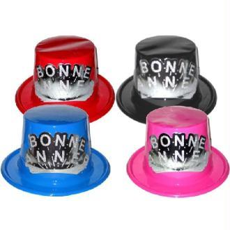 12 Chapeaux PVC bonne année (4 couleurs assorties)