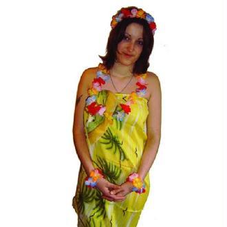 Set hawaïen fleurs multicolore en Tissu
