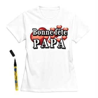 T-shirt homme Bonne fête Papa à dédicacer - Taille L