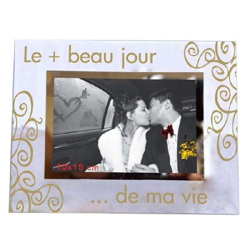 cadre photo le plus beau jour 23 x 18 cm cadeaux et souvenirs de mariage creavea. Black Bedroom Furniture Sets. Home Design Ideas