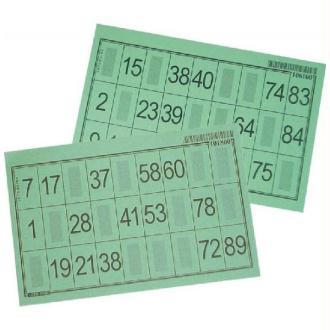 100 Cartons-feuille loto vertes numérotés 10 x 15 cm