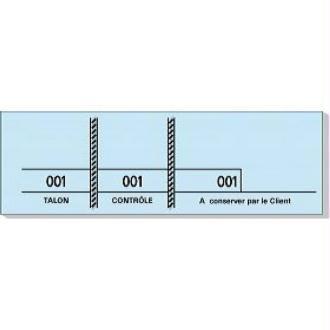 Carnet de 100 tickets bleus numérotés 3 souches - 48 x 150 mm