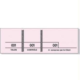 Carnet de 100 tickets roses numérotés 3 souches - 48 x 150 mm