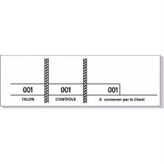 Carnet de 100 tickets blancs numérotés 3 souches -48 x 150 mm