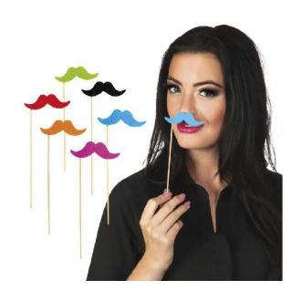 Party Moustache sur Stick Assortis (12 pièces)