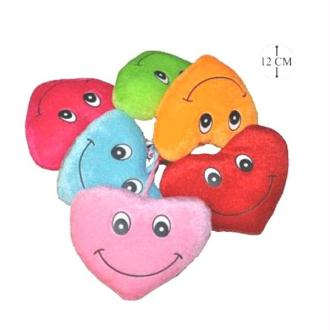 1 Peluche cœur visage 12 cm ( couleurs assorties)