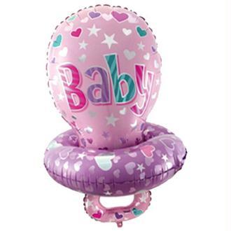 Ballon Alu. Tétine Baby Rose (60 x 45 cm)