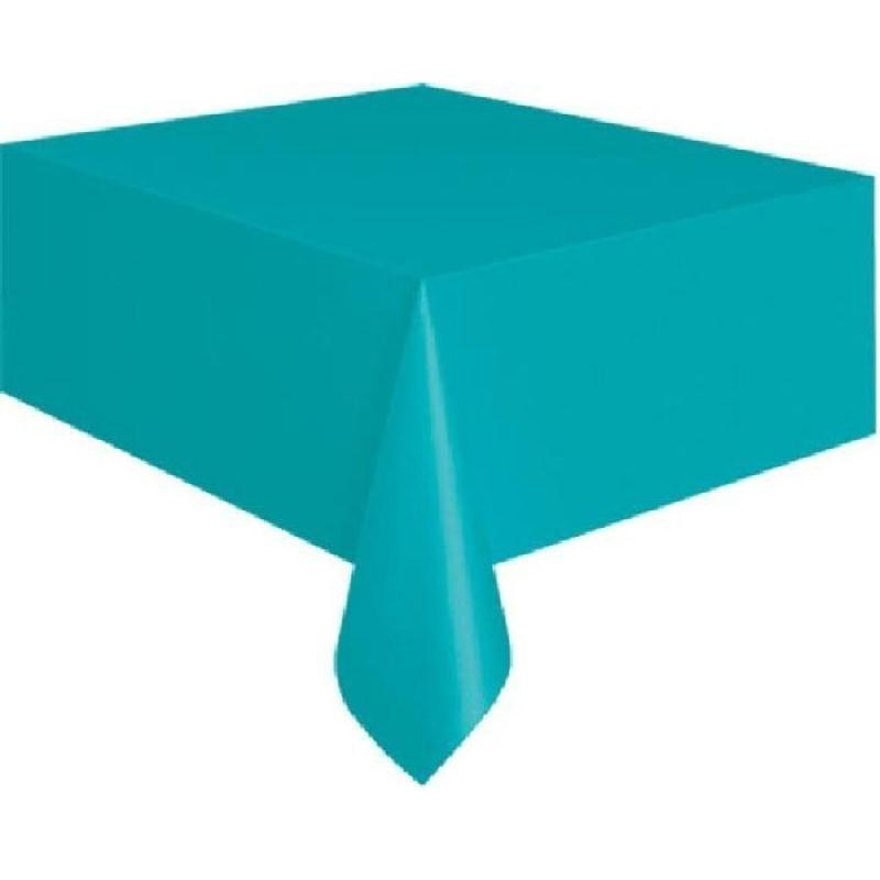 Nappe bleue turquoise plastique rectangulaire 135x270 cm - Nappe cuisine plastique ...