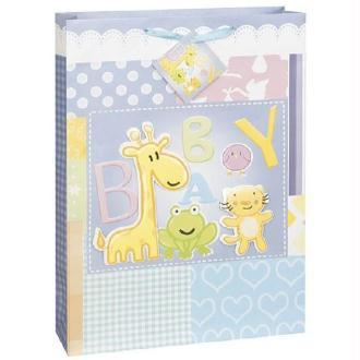 Grand sac cadeau baby animaux 44 x 33 cm