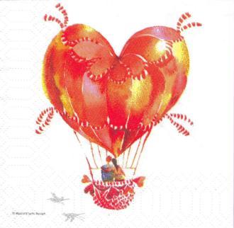 4 Serviettes en papier Cœur Ballon Amour Format Cocktail