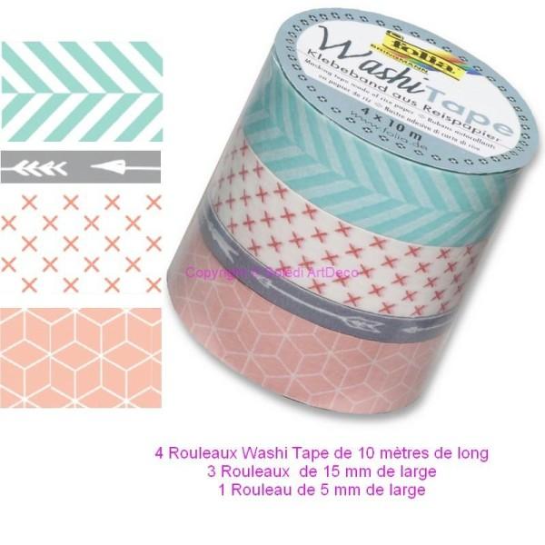 Lot de 4 Rubans Washi Tape en Papier de riz autocollant 4 x10mètres, Couleurs Poudrées, Formes géomé - Photo n°1