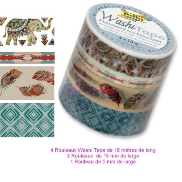 Lot de 4 Rubans Washi Tape en Papier de riz autocollant 4 x10mètres, Couleurs Boho, Losanges, Élépha - Photo n°1