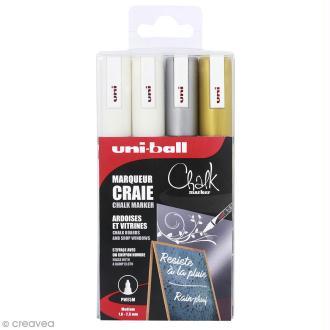 Set marqueurs craie Chalk Brillant UNI - Pointe conique moyenne 1,8 à 2,5 mm - 4 marqueurs