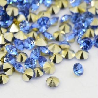 Lot de 100 cabochons strass bleu royal 6 mm