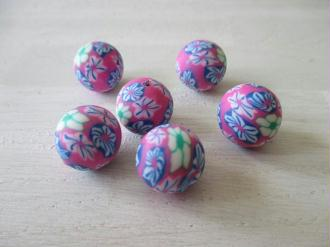 Lot de 6 perles fimo ronde 14 mm