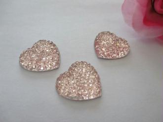 Lot de 3 cabochons résine cœur rose 18 mm