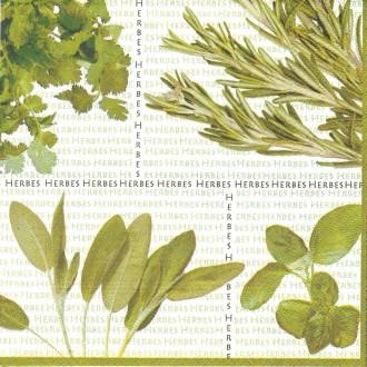 4 Serviettes en papier Cuisine Herbes Format Lunch