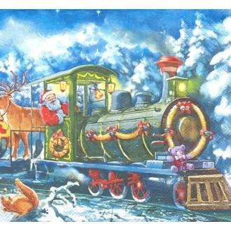 4 Serviettes en papier Train du Père Noël Format Lunch