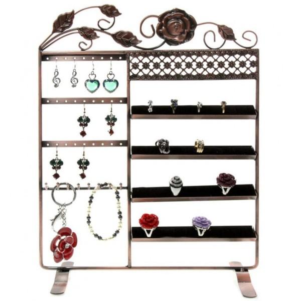 Porte bijoux porte bijoux cadre fleur boucle bracelet bague et accessoire Cuivre - Photo n°1