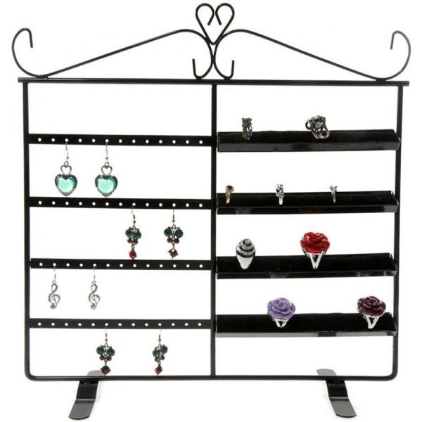 Porte bijoux porte bijoux cadre duo pour boucle d'oreille et bague Noir - Photo n°1