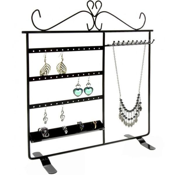 Porte bijoux tout-en-un boucle collier bague Noir - Photo n°3