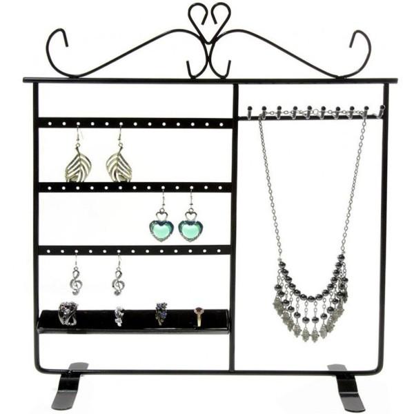Porte bijoux tout-en-un boucle collier bague Noir - Photo n°1