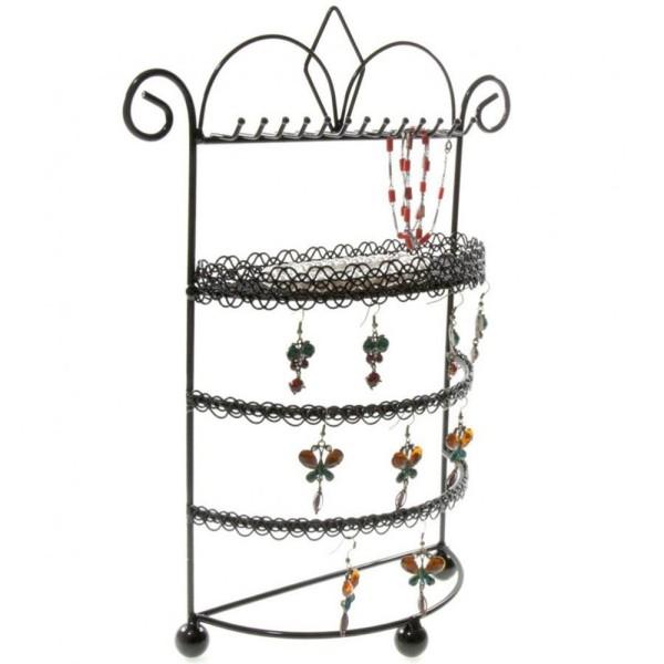 Porte bijoux porte bijoux mixte boudoir à plateau et crochets Noir - Photo n°2