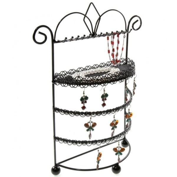 Porte bijoux porte bijoux mixte boudoir à plateau et crochets Noir - Photo n°3