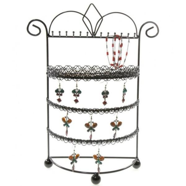 Porte bijoux porte bijoux mixte boudoir à plateau et crochets Noir - Photo n°1