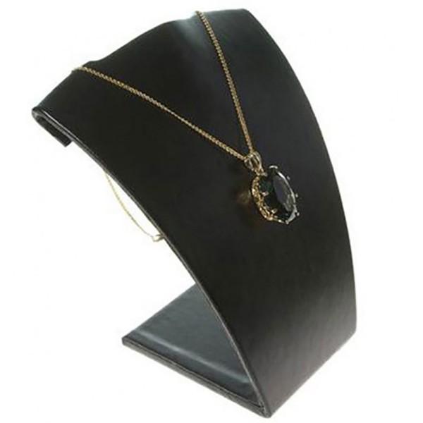 Porte bijoux buste porte collier et chaine en simili cuir 15 cm Noir - Photo n°2