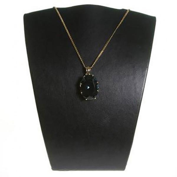 Porte bijoux buste porte collier et chaine en simili cuir 15 cm Noir - Photo n°1