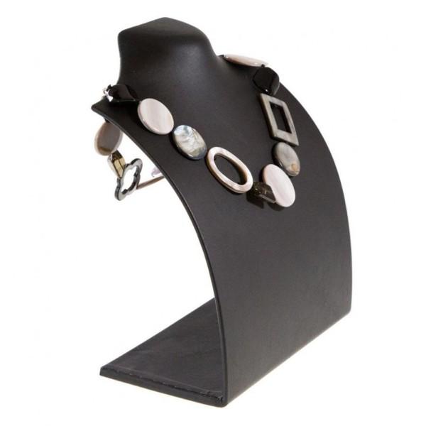 Porte bijoux presentoir pour collier buste droit de 18 cm Noir - Photo n°2