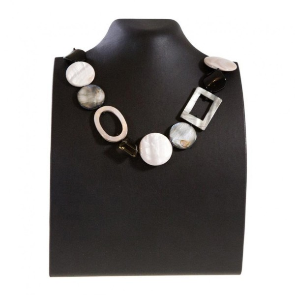 Porte bijoux presentoir pour collier buste droit de 23 cm Noir - Photo n°1