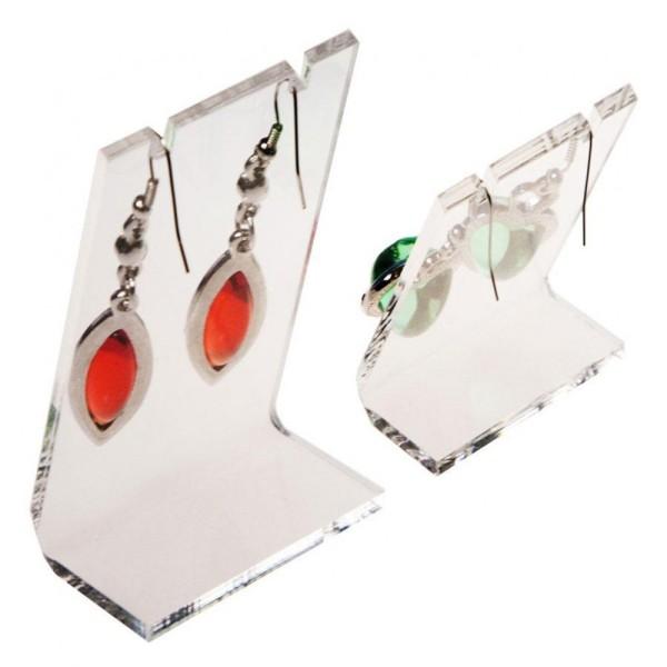 Porte bijoux mini support boucle d'oreille petit panneau (1 paire) h 6 cm Transparent - Photo n°2