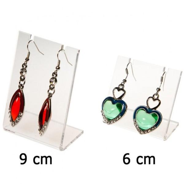 Porte bijoux mini support boucle d'oreille petit panneau (1 paire) h 6 cm Transparent - Photo n°1