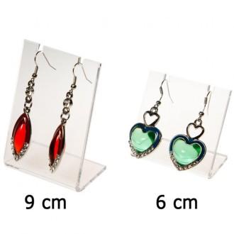 Porte bijoux mini support boucle d'oreille petit panneau (1 paire) h 6 cm Transparent