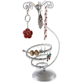 Porte bijoux porte boucle d'oreille manège mini tourbillon (22 paires) Gris patiné