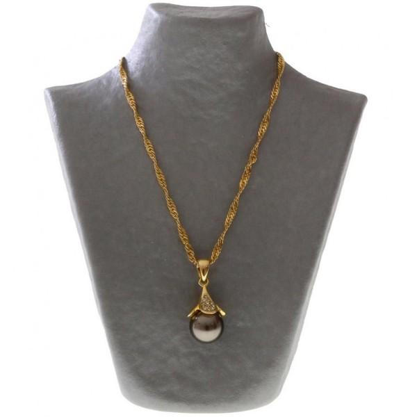 Porte bijoux buste porte collier en papier mâché 16 cm Gris - Photo n°2