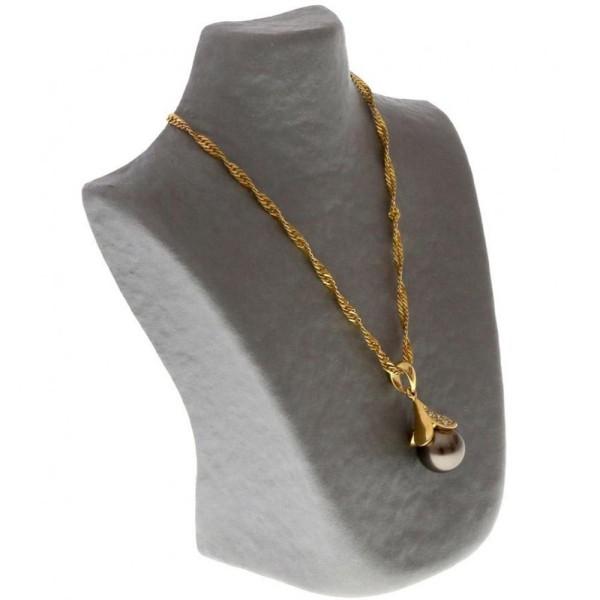 Porte bijoux buste porte collier en papier mâché 16 cm Gris - Photo n°1