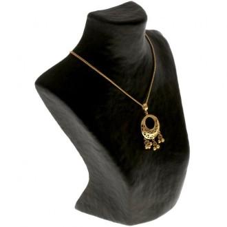 Porte bijoux buste porte collier en papier mâché 20 cm Noir