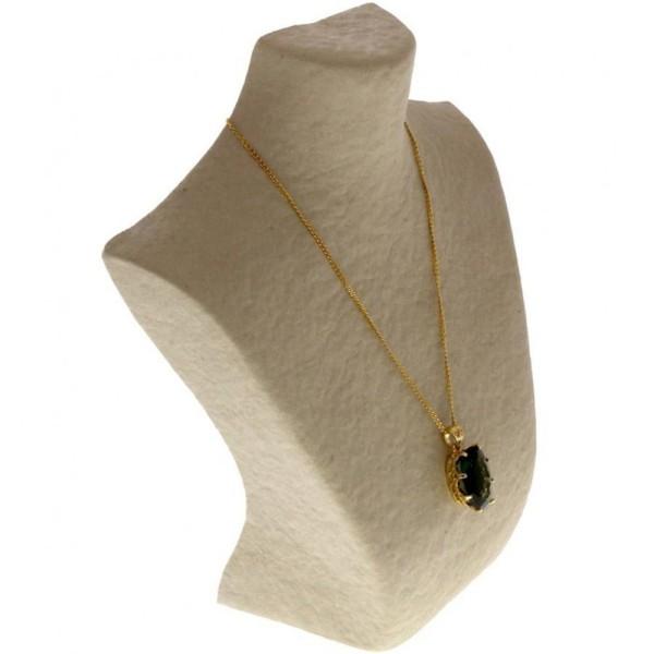 Porte bijoux buste porte collier en papier mâché 25 cm Beige - Photo n°1