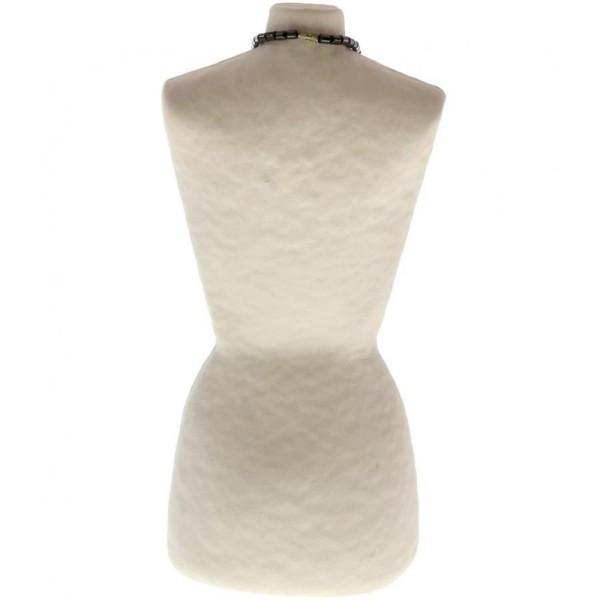 Porte bijoux buste porte collier long sautoir femme papier maché 28 cm Beige - Photo n°3