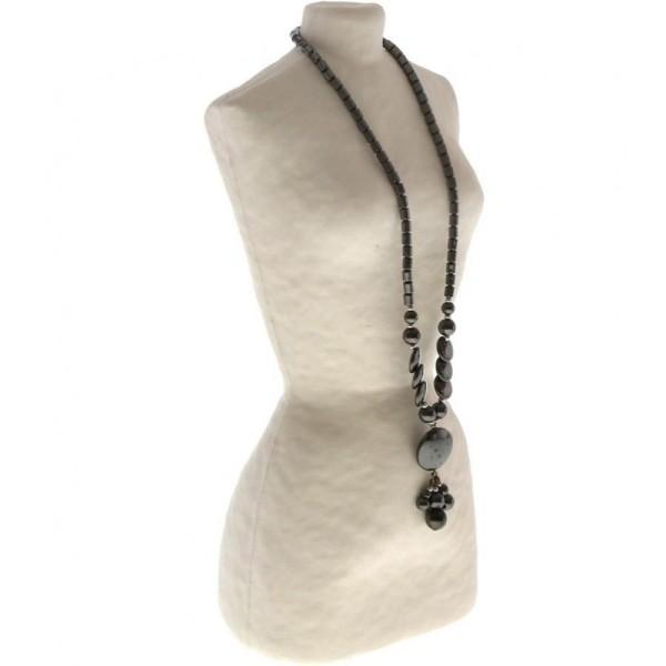 Porte bijoux buste porte collier long sautoir femme papier maché 28 cm Beige - Photo n°1