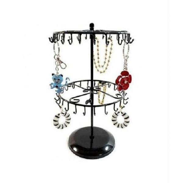 Porte bijoux porte bijoux et accessoires manège réglable à 40 crochets Noir - Photo n°1