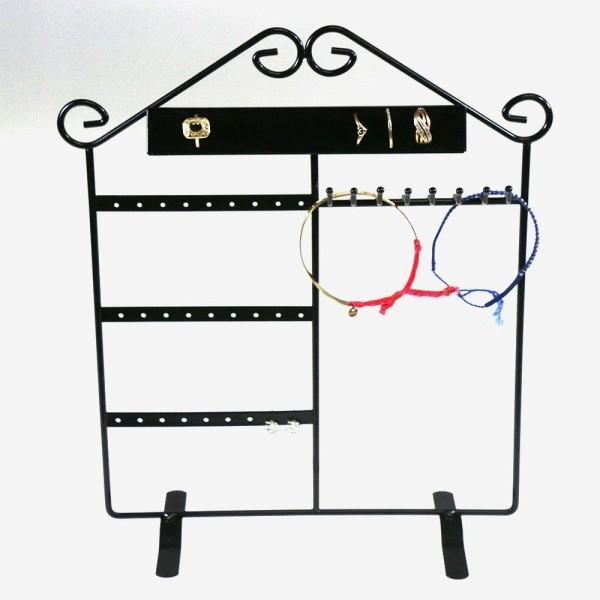Porte bijoux présentoir mixte pour bagues, bracelets et boucles d'oreilles Noir - Photo n°1