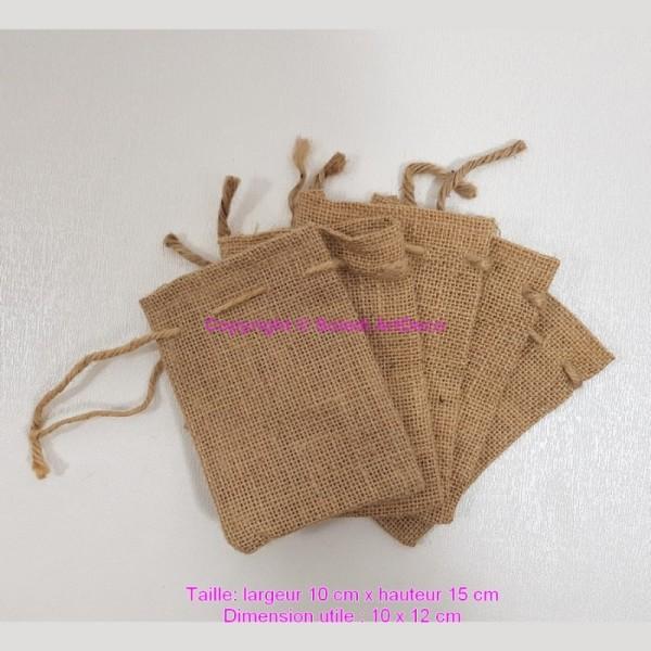 Lot de 5 Pochons en Toile de Jute naturelle, Petit Sac artisanal avec cordon de serrage, Larg. 10cm - Photo n°1