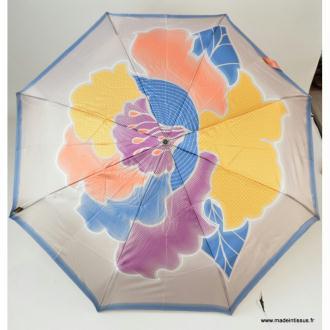 Parapluie pliant Piganiol beige, bleu et jeune MADE IN FRANCE