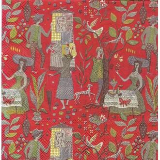4 Serviettes en papier Patizier W. Matysiak tissu d'ameublement Format Lunch