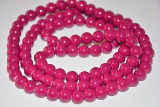 1 Fil De 100 Perles En Verre Blanc Tréfilé Noir 8mm