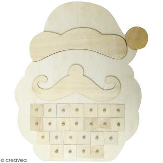 Calendrier de l'Avent en bois à décorer - Père Noël - 33 x 40 cm